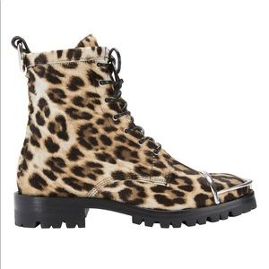 Alexander Wang Lyndon Leopard Print Combat Boots